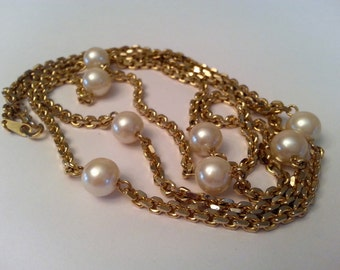 """Vintage Gold Tone Necklace With Pearl Detail, The Look Of Pearls, Long Gold Tone Necklace, 30"""" Long Vintage Necklace"""