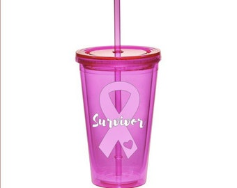 Breast Cancer Awareness Pink Ribbon Tumbler - Survivor