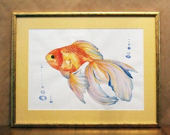 Goldfish painting,Watercolor painting, Original painting, Original art, Goldfish, Home decor, wall art, Original watercolor