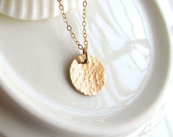 Hammered Texture Medium Round Disc Necklace - 1/2 inch - Gold Filled, Rose Gold Filled & Sterling Silver - CG205N