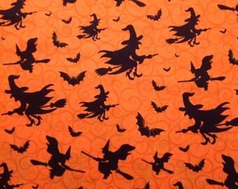 Halloween Witch And Bats Animal Bird Holiday Blanket Quilt Novelty Kid Boy Girl Baby Orange Black Cotton Fabric