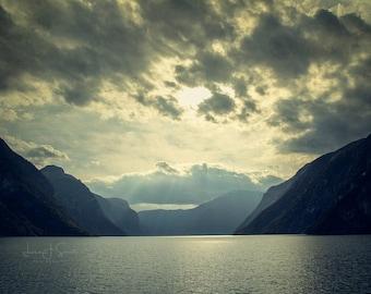 Norway Fjords | Sunrise Print | Fine Art Landscape Photograph | Wall art | Office Art | Home Decor | Blue Wall Art