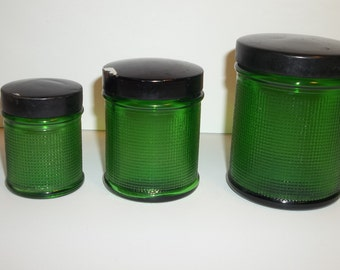 Vintage Green Owens Indiana Glass Jars Set Of 3