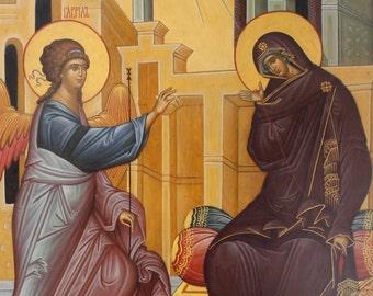 Annunciation Byzantine orthodox icon egg tempera Благовещение Пресвятой Богородицы
