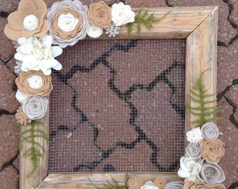 handmade wood from with wire insert decorated with natural color felt flowers 17x17