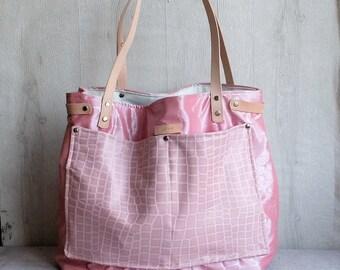Large pink tote bag vinyl, leather pocket, leather handles