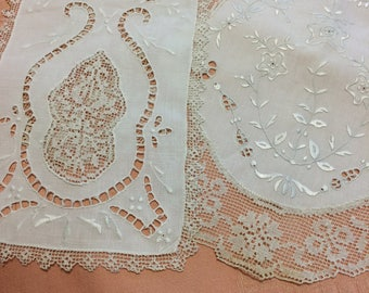 Antique vintage whitework embroidery, cutwork, and lace dresser scarf doilie set