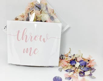 Flower petal confetti - pale pink and cornflower blue with white petals - biodegradable - calligraphy 'throw me' packet - vintage weddings