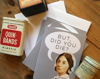 Sarcastic Florence Nightingale nurse note cards - set of 4