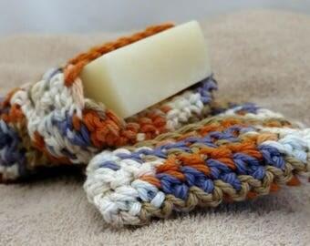 Multi-color Crochet Soap Saver, Orange, Purple, Tan, and White