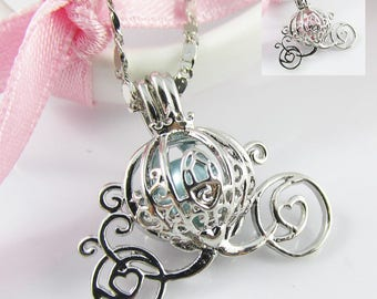 Cinderella Pumpkin Carriage Cage Pendant Necklace 45cm Select Blue or Pink Pearl
