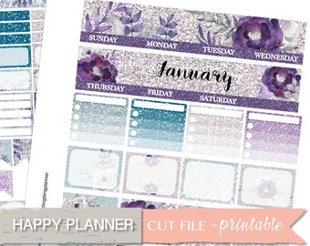 HAPPY PLANNER MONTHLY Kit, January monthly Kit, Happy Planner, Printable Planner Stickers, Monthly View, Glitter Purple, Digital labels, diy