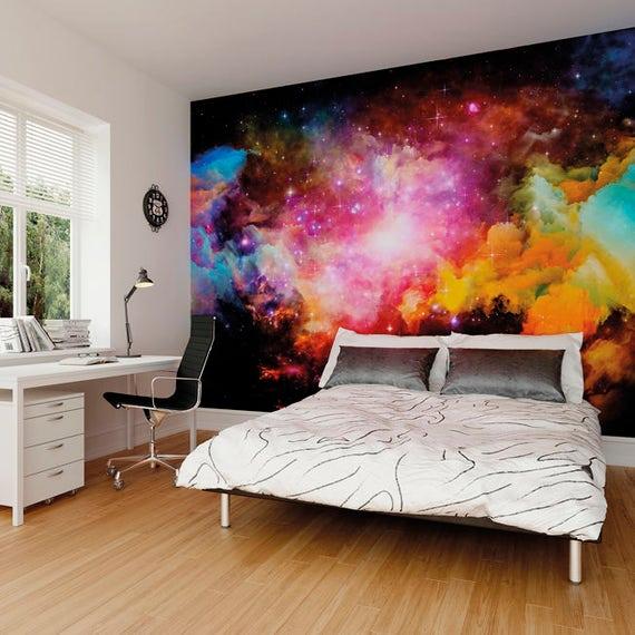 Galaxia gran foto papel pintado pared mural para dormitorio for Papel de pared dormitorio