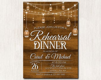 Rehersal dinner invitation, Rehersal dinner party, Rustic Rehersal dinner invitation, Wedding invitation, Mason jar invitation - 1661