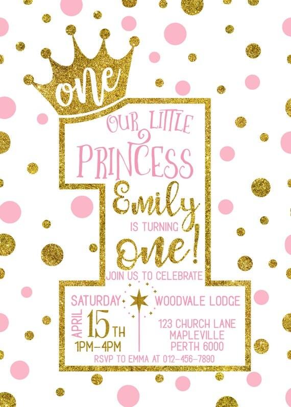 Geburtstags Einladung, Prinzessin 1. Geburtstags Einladung, Krone Einladung  Mädchen, Rosa Gold Punkte, Mädchen Ersten Geburtstag, Alle Alter   1615