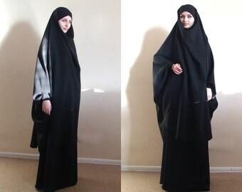Black Franch Khimar Suit, Muslim black outfit, Abaya,Black Modern Burqa, Long Skirt, Oversize Hijab, Ready to wear hijab,  Long Khimar