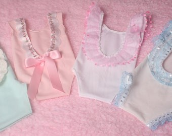 Stretch crepe fabric Newborn Baby Girl Romper,Sleeveless,With Low Back in various colours and trims ,Photographers Prop.