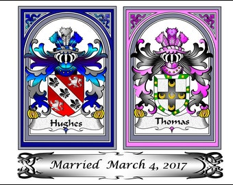 Wedding gift - Anniversary gift - wedding gift ideas, wedding programs, Anniversary family crest, custom gifts, personalized bridal gift