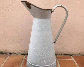Vintage French Enamel pitcher jug white grey marbled water enameled 2