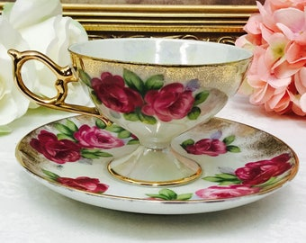 Japanese pedestal teacup and saucer.