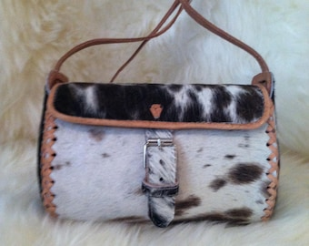 Cowhide Barrel Shoulder Handbag