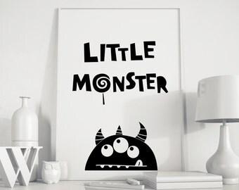 Little monster, boys room decor, baby boy room decor, boys art, boys room art, boys room sign, playroom decor, kids playroom art, kids room