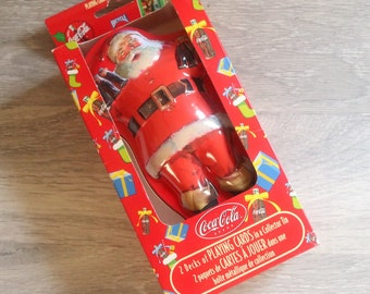 Coca-Cola Santa Tin with Two Sets of Playing Cards and Original Box