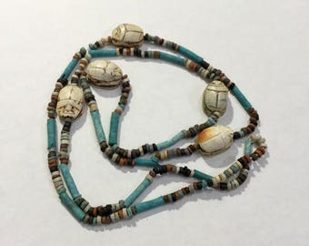 Egyptian Scarab and Mummy Bead Faience Necklace.