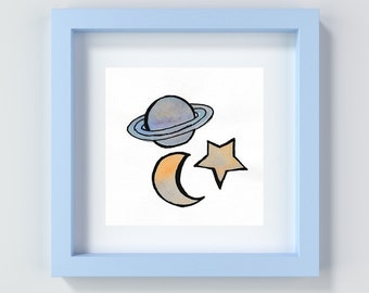 Space Nursery Print, Space Painting, Baby Boy Wall Art, Baby Decor, Space Decor, Playroom Space Print, Child's Room Art, Stars and Moon Art