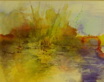 Alcohol inks landscape Soft Morning by the Pond