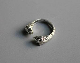 Vintage Sterling Silver Fox Ring