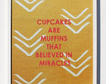 "Cupcakes are Muffins Magnet Board - 12 x 16"" to 20 x 26"" Magnetic Bulletin Boards"