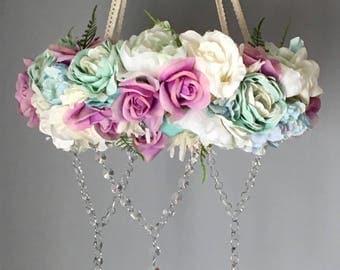 Flower Mobile, Floral Mobile, Flower Chandelier, Seaside Nursery, Mermaid Nursery, Floral Chandelier, Crystal Mobile, Girl Nursery