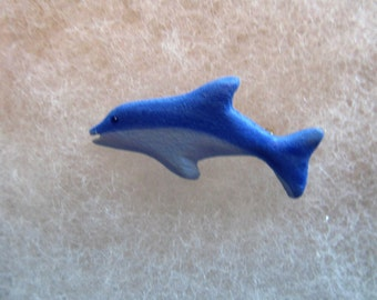 Dolphin (painted) Jewelry Pin - handcarved and handpainted