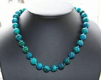 Necklace, neck jewellery, jasper, sea sediment, aquagreen, aquablue, 47 cm long
