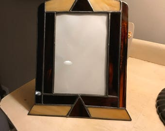 Stained glass picture frame - art deco