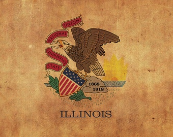 Vintage Illinois flag on canvas, Illinois, Flag, Wall Art, Illinois Photo, Illinois flag on canvas,  Single or Multiple Panels Illinois flag