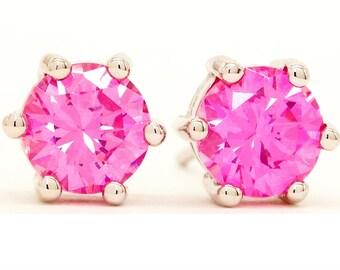 Pink Stud Earrings, Silver Pink Earrings, Pink Round Crystal, Pink Gem Earrings, 925 Sterling Silver, Stud Pink Earrings, Pink 925, Gift Box