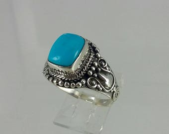 Vintage Blue Turquoise Sterling Silver Ring Sz 9