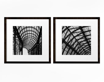 Square Prints, Set of 2 Prints, London Wall Art, Abstract Photograph, Industrial Art, Architecture Print, Black and White Photography