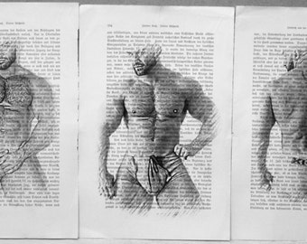 Gay erotic poster  / Francois Sagat nude body  / 3 pages printing Antique  German book  decor interior picture ART erotic