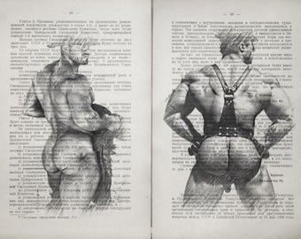 Erotic Gay poster 2 pages / Muscle man buttock/ Printing Antique Russian book  decor interior picture ART erotic