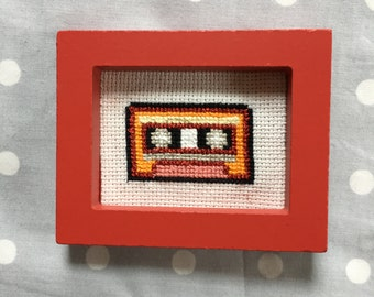 Mixed Tape Cassette - Framed Retro Cross Stitch