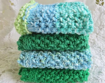 Hand-knit Cotton Dishcloths (set of 4)
