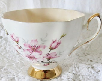 Salisbury Orphan Bone China Footed Teacup Pink Floral Pattern Pink Interior Replacement Teacup Only No Saucer