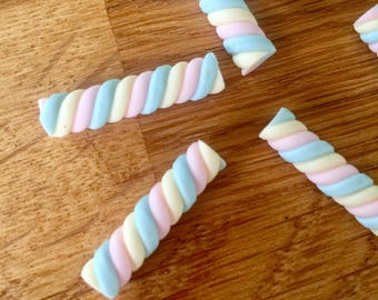 6 Pastel Marshmallow Cabochons 3D Polymer Clay Kawaii Decoden Flumps Sweets Desserts Candy