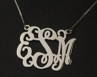 "Monogram Necklace, Personalized Monogram Necklace, Monogram Necklace Sterling Silver, Initial Necklace, Personalized Initial Jewelry, 1.2"""