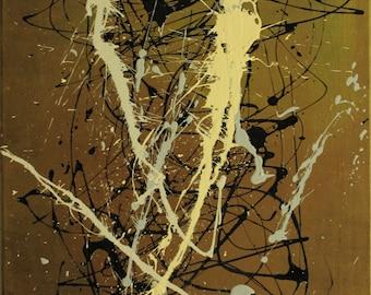 "Original Abstract Acrylic Painting ""Yellow Gilt"""