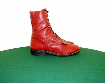 Sz 6.5M Women Dark Red leather Acme lace up granny combat ankle boots.