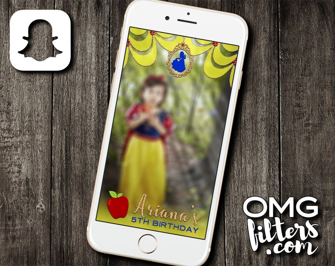 Snow White inspired Snapchat Geofilter - Any Wording / Any Event / Any Age! Custom Filter